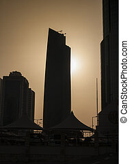 Skyscrapers shapes in sunset