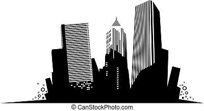 Silhouette of skyscrapers. Vector