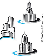 Skyscrapers and real estate symbols for design and decorate