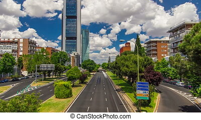 skyscrapers timelapse in the Four Towers Business Area with the tallest skyscrapers in Madrid and Spain
