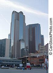 Skyscrapers - Towering city skyscrapers in an urban ...