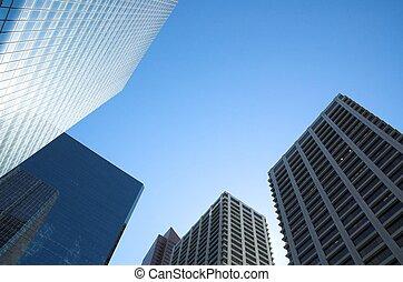 Skyscrapers towering over Calgary Alberta Canada.