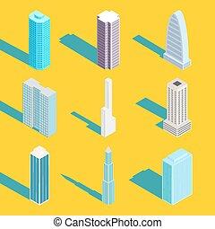 Skyscrapers, vector isometric city buildings