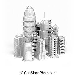 Skyscrapers white ctiy , isolated