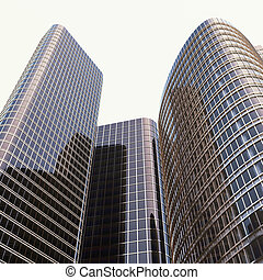 Skyscrapers with glass, high rise building, skyscrapers, business concept of successful industrial architecture. 3d rendering