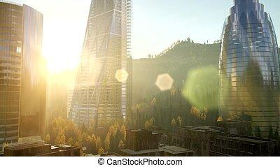 skyscrapes, miasto, lense, flairs, zachód słońca