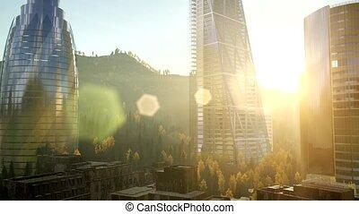 skyscrapes, zachód słońca, lense, miasto, flairs