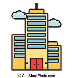 Skyscrapper flat line illustration, concept vector isolated icon