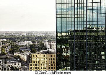 skyscrapter, oben, stadt