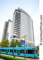 skyskrabere, frankfurt, distrikt, tram, firma
