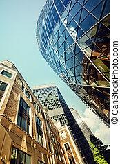 skyskrapor, in, stad, av, london.