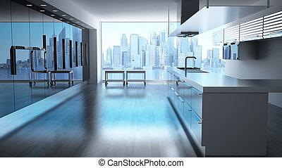 skyskrapor, nymodig, höga teknologiska, cityscape., synhåll, kök