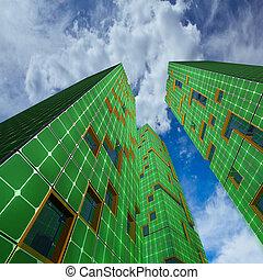 skyskrapor, stad, ekologi