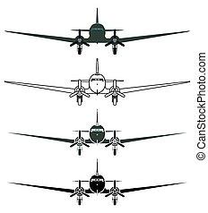 skytrain, c47, nárys, letadlo