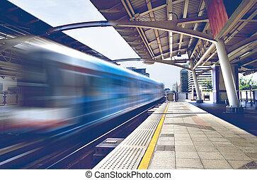 skytrain., cityscape, bangkok
