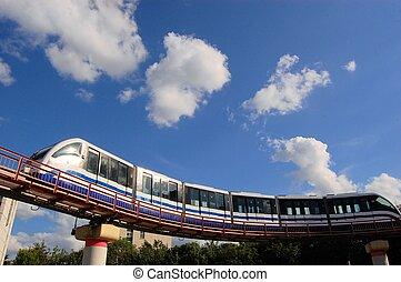skytrain, jeûne, moscou, monorail, transit, masse, russie