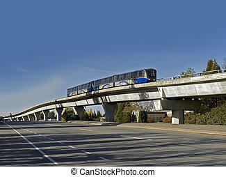 SkyTrain on the bridge in Burnaby, Canada
