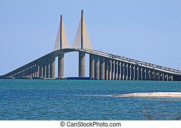 skyway, światło słoneczne, most