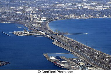 Skyway bridge Burlington aerial