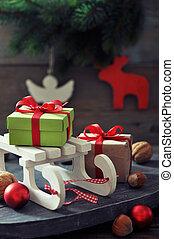 släde, leksak, med, gåva boxar