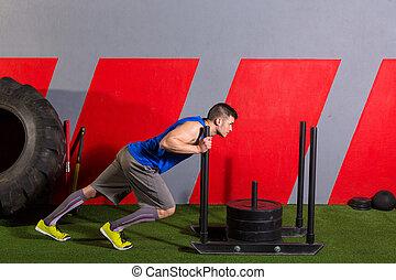släde, trycka, man, pressande, vikter, genomkörare, övning