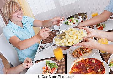 släkt ätande, a, kall, lunch