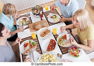 släkt ätande, a, lunch, hemma
