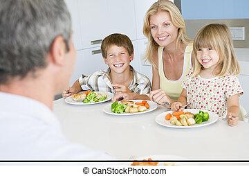 släkt ätande, a, måltiden, tillsammans