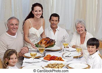 släkt ätande, turkiet, in, a, middag
