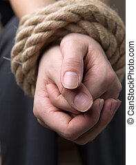 släkt, hand, av, kvinnlig, offer