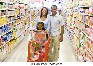 släkt handling, in, supermarket