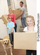 släkt hund, rutor, bärande, gripande, papp, dag