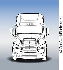 släpvagn, amerikan, svart, vit, lastbil, skiss