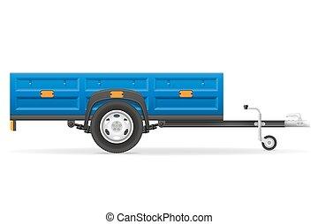 släpvagn, bil, vektor, transport, gods, illustration