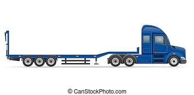 släpvagn, bil, vektor, transport, lastbil, illustration, halv-