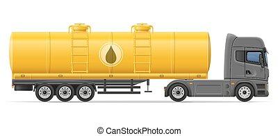 släpvagn, cistern, vektor, transportera, lastbil, illustration, vätskor, halv-