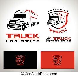 släpvagn transportera, logo