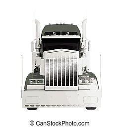 släpvagn, vektor, amerikan, isolerat, vit fond, lastbil