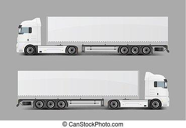 släpvagn, vektor, frakt, realistisk, lastbil, halv-