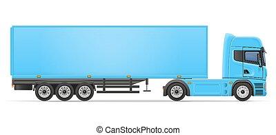släpvagn, vektor, lastbil, illustration, halv-