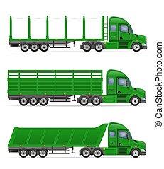släpvagn, vektor, transport, lastbil, gods, illustration, begrepp, halv-