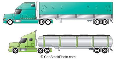 släpvagnen, amerikan, konventionell, lastbilar, &