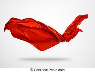 slät, elegant, rött tyg, på, grå fond