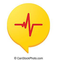 slå, hjerte, begrebsmæssig, ikon