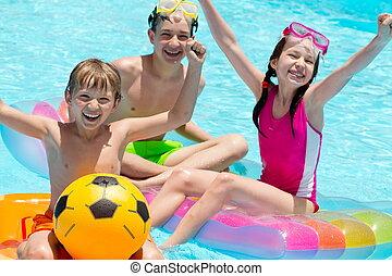 slå samman, barn, simning