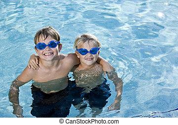 slå samman, framställ, bröder, tillsammans, simning