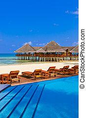 slå samman, maldiverna, cafe, strand