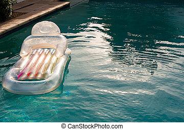 slå samman, simning, bakgård, uppblåsbar, flytande, rör