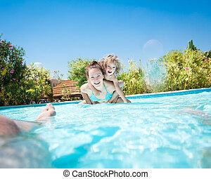 slå samman, simning, leka, familj, lycklig