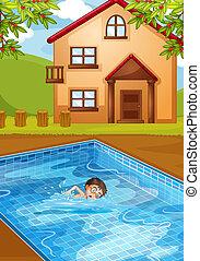 slå samman, simning, unge